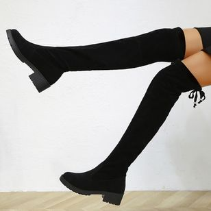 Women's Lace-up Knee High Boots Closed Toe Cloth Low Heel Boots (146780861)