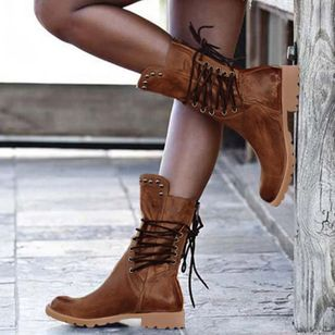 Women's Rivet Lace-up Mid-Calf Boots Closed Toe Round Toe Low Heel Boots (118207753)