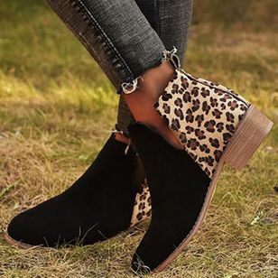 Women's Leopard Ankle Boots Closed Toe Cloth Chunky Heel Boots (112236828)