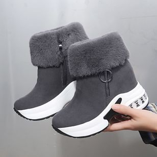 Women's Zipper Ankle Boots Round Toe Cloth Wedge Heel Boots (146718931)