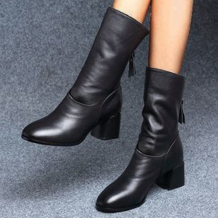 Women's Zipper Mid-Calf Boots Leatherette Chunky Heel Boots (146718896)