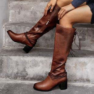 Women's Zipper Lace-up Knee High Boots Round Toe Heels Chunky Heel Boots (146910424)