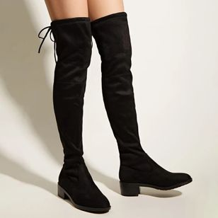Women's Lace-up Over The Knee Boots Closed Toe Nubuck Chunky Heel Boots (146780822)