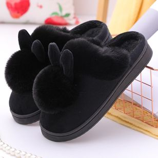 Women's Closed Toe Cotton Flat Heel Slippers (146913060)