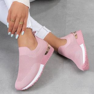 Women's Closed Toe Round Toe Fabric Leatherette Low Heel Sneakers (147036245)
