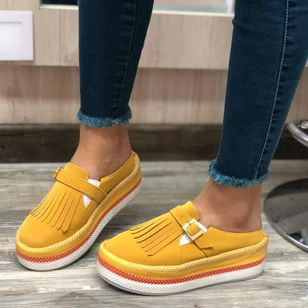 Women's Buckle Tassel Elastic Band Closed Toe Round Toe Leatherette Nubuck Wedge Heel Sneakers Slippers (147156678)