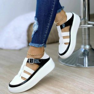 Women's Buckle Closed Toe Round Toe Leatherette Low Heel Sneakers (147512448)