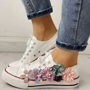 Women's Lace-up Flower Closed Toe Round Toe Canvas Flat Heel Sneakers (147218584)