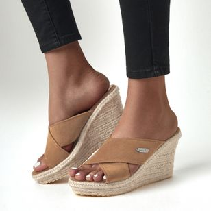 Women's Peep Toe Nubuck Wedge Heel Sandals (1537344)