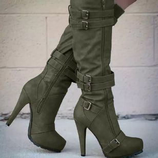 Women's Buckle Zipper Mid-Calf Boots Closed Toe Pointed Toe Stiletto Heel Boots (128228088)