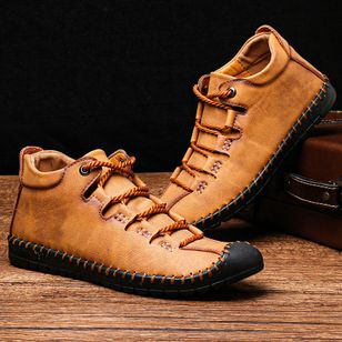 Men's Lace-up Ankle Boots Round Toe Flat Heel Boots (146891623)