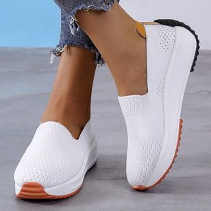 Women's Hollow-out Closed Toe Fabric Wedge Heel Sneakers (100546878)