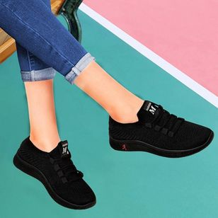 Women's Lace-up Closed Toe Wedge Heel Sneakers (147473082)