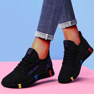 Women's Lace-up Low Top Fabric Cloth Flat Heel Sneakers (146780888)