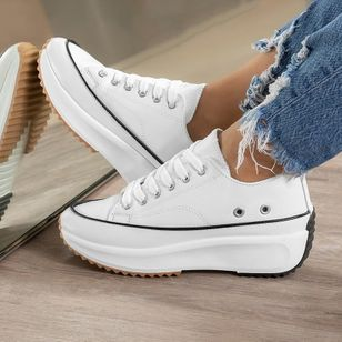 Women's Lace-up Flats Flat Heel Sneakers (146908057)
