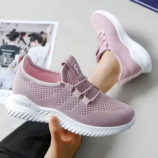 Women's Net Surface Lace-up Closed Toe Fabric Flat Heel Sneakers (112236841)