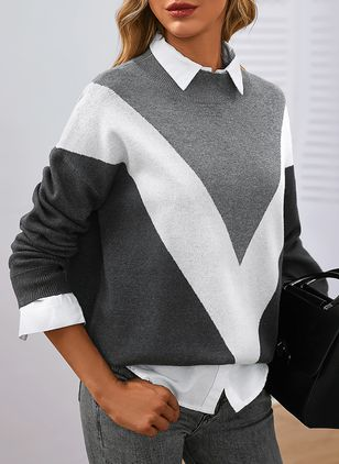 Round Neckline Color Block Casual Loose Shift Sweaters (146908736)
