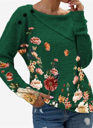 Round Neckline Floral Casual Regular Buttons Sweaters (146632273)