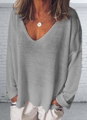 Solid V-Neckline Long Sleeve Casual T-shirts (1609956)