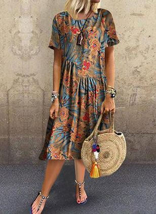 Floral Tunic Round Neckline Midi Shift Dress
