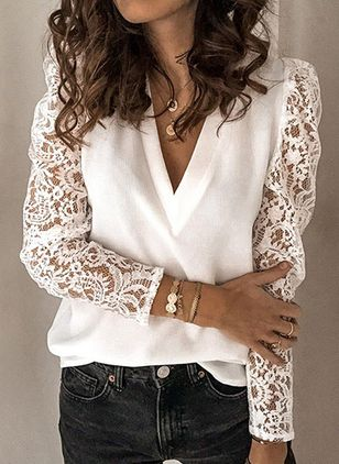Solid Casual V-Neckline Long Sleeve Blouses (1524502)
