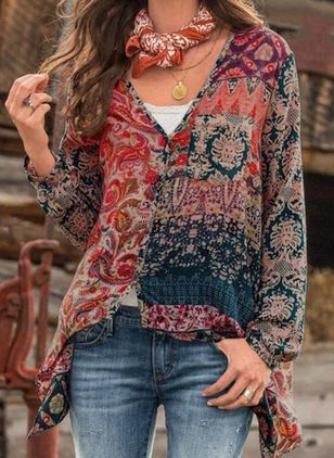 Floral Casual V-Neckline Long Sleeve Blouses (101988103)