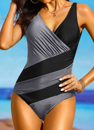 Polyester Color Block One-piece Swimwear