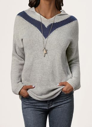 Hooded Solid Casual Regular Shift Sweaters (1426988)