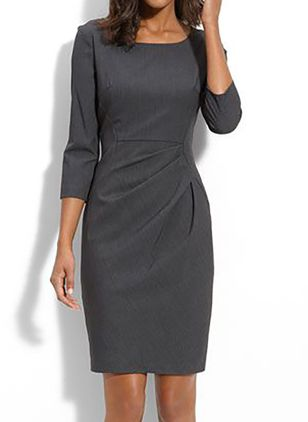 Elegant Solid Pencil Round Neckline Bodycon Dress