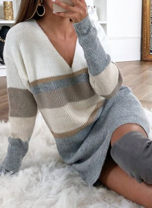 Casual Color Block Sweatershirt V-Neckline Shift Dress