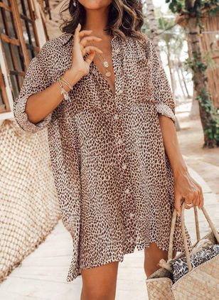 Plus Size Casual Leopard Tunic Above Knee Shift Dress (4209452)