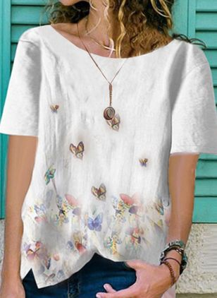 Animal Casual Round Neckline Short Sleeve Blouses (4044023)