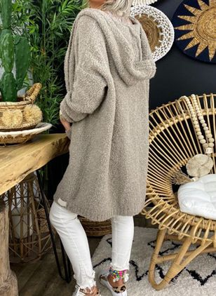 Long Sleeve Hooded Pockets Sweaters Coats (128228072)