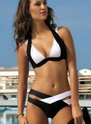 Polyester Color Block With Rim Bikinis Swimwear (1350711)