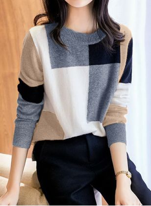 Round Neckline Color Block Casual Loose Regular Shift Sweaters (146744221)