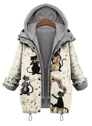 Long Sleeve Hooded Buttons Zipper Pockets Coats (146780877)