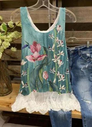 Floral Summer Sleeveless Blouses (147194815)