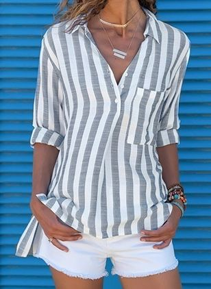 Stripe Casual Collar Long Sleeve Blouses (101988073)