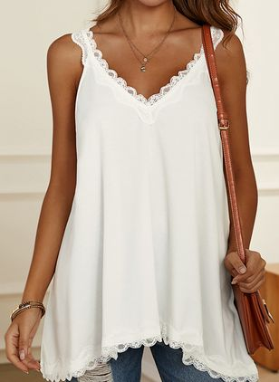 Plus Size Solid Casual Camisole Neckline Sleeveless Blouses (4209352)