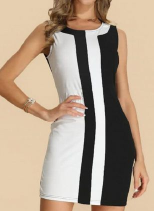 Casual Solid Round Neckline Above Knee X-line Dress (4662553)