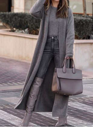 Long Sleeve Collarless Coats (128228077)