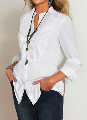 Solid Casual V-Neckline Long Sleeve Blouses (1393516)