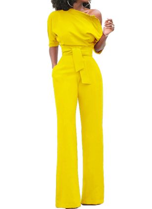 Solid Half Sleeve Jumpsuits & Rompers (1399253)