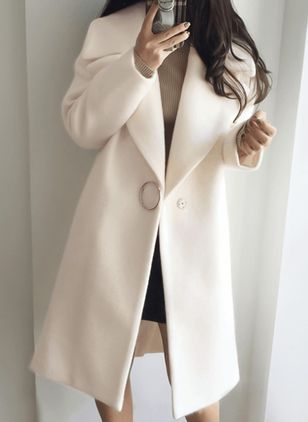 Long Sleeve Lapel Buttons Trench Coats