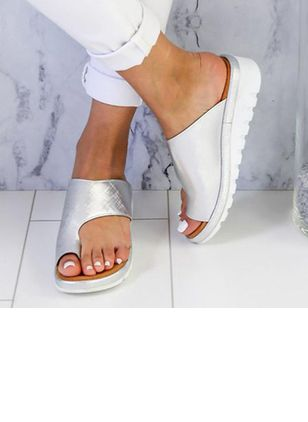 Women's Toe Ring Wedge Heel Slippers