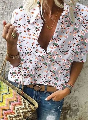 Floral Casual Collar Long Sleeve Blouses (4040784)