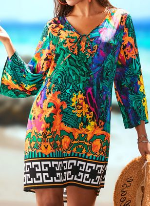 Polyester High Neckline Pattern Cover-Ups Swimwear (1514590)