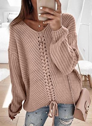 V-Neckline Solid Casual Loose Regular Shift Sweaters (107422975)