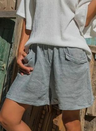 Casual Loose Pockets Mid Waist Polyester Shorts (101988025)