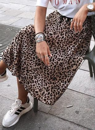 Leopard Knee-Length Casual Skirts (4355944)